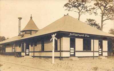 FL VERY RARE Florida REAL PHOTO Railroad Depot Sutherland, FLA - Pinellas County