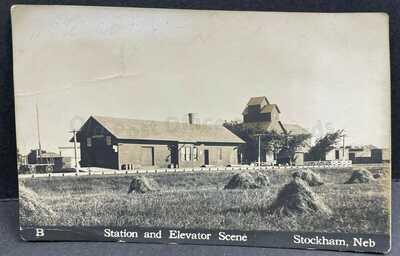 Stockham, Nebraska-Rare view of Railroad Depot c1911 RPPC Real Photo Postcard