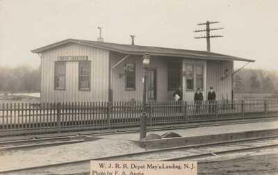 W.J.R.R. Railroad Depot May's Mays Landing NJ  Atlantic County F.A. Austin rppc