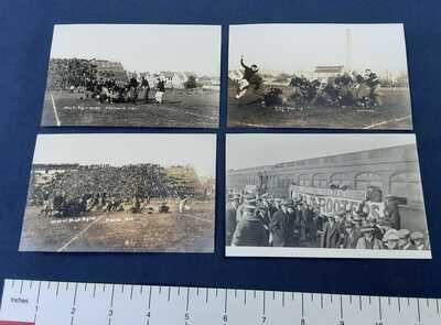 RPPC –  4 Vintage Postcards – 1913  MAC vs. Wisconsin Football Game – MSU