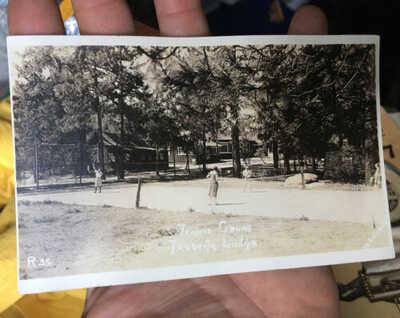 ca.1920's Idyllwild, Calif. TENNIS COURT Jahquitz Lodge, San Jacinto MTNS. RPPC
