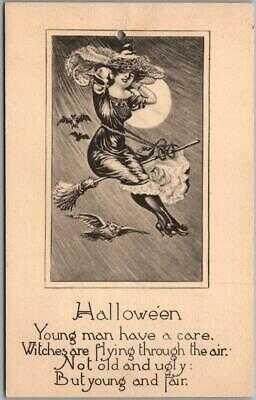 Vintage 1910s HALLOWEEN Postcard Pretty Witch on Flying Broom Owl Bats UNUSED
