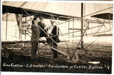 RPPC Glen Curtis C.D. Harmon F.H. Johnson in Curtiss Biplane #9 Postcard 1910
