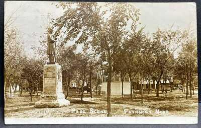 Fairmont, Nebraska-Park-Civil War Monument GAR c1912 RPPC Real Photo Postcard