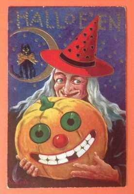 Vintage Halloween Postcard Signed Bernard Wall-Witch Holding JOL, Cat On Moon