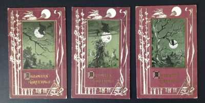 Vintage Halloween Postcards (3) Rose Co. Pub. Rare Wine/Sage Green Coloration!!