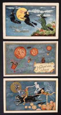 Vintage Whitney Halloween Postcards (3) Witches,Skeletons, JOL Hot Air Balloons!