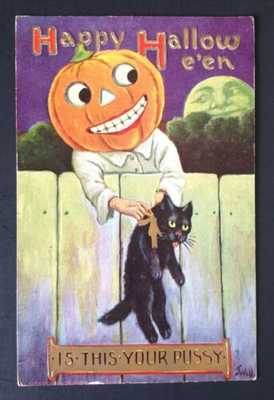 "Vintage Halloween Postcard Signed Wall ""Is This Your Pussy?"" JOL Man, Black Cat"