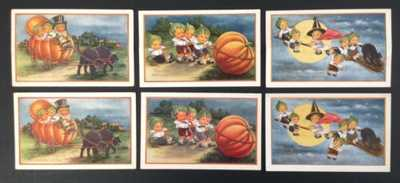 Whitney Halloween Postcards (6) Children W/ Leaf Caps- 3 Each With Diecut Mate