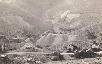 SEVEN TROUGHS MINING AND TOWN -  REAL PHOTO POSTCARD RARE NEVADA c.1907 - AZO