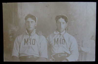"RPPC 2 Mio Michigan Baseball Team Members, Wearing Their ""MIO"" Felt"