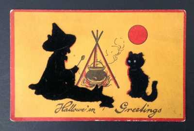 Vintage Gabriel Halloween Postcard- Velvet Flocked Witch,Cat; Cauldron, Red Moon