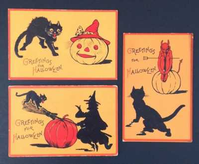 Vintage Halloween Postcards (3) Gabriel Series 122- Black Cats, Devil, Witch