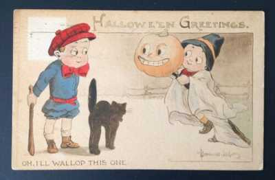 Gibson Halloween Postcard Signed Bernard Wall-Oh, I'll Wallop This One-Very Cute