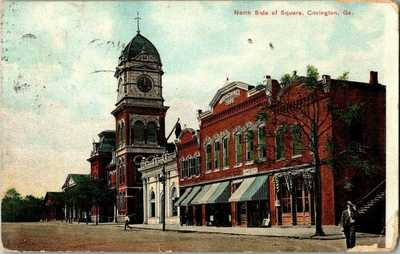 1908. COVINGTON, GA. NORTH SIDE OF SQUARE. STREET VIEW. POSTCARD.
