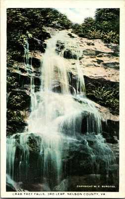 1920. W.E. BURGESS, NELSON COUNTY, VA. CRAB TREE FALLS. 3RD LEAP. POSTCARD.