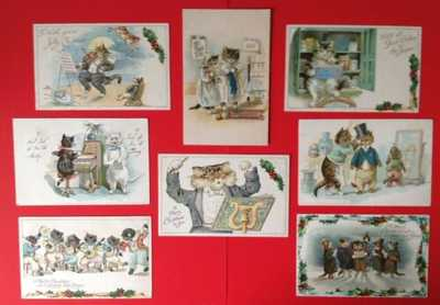Vintage Nister Christmas Cat Postcards(8)Mostly Musical, All Cute Humanized Cats