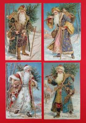 Vintage Santa Postcards (4) Full Length, Various Robe Colors, Gilded Accents