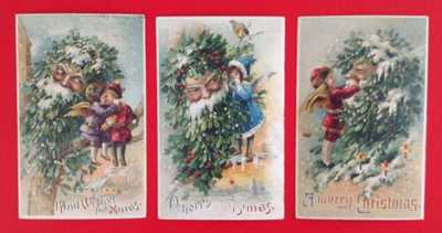 Vintage Hold-To-Light Santa Postcards(3) Fantasy Mistletoe Santa Faces-Stunning!