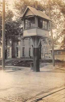 Charlotte Michigan Signal Box Railroad Real Photo Vintage Postcard JJ650743