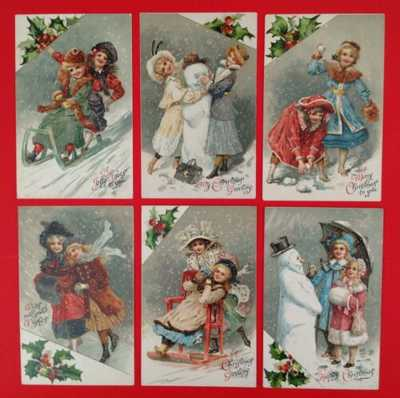 Vintage Nister Christmas Postcards (6) #'s 298-303- Holly Accents, Gorgeous Set!