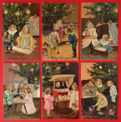 Vintage PFB Christmas Postcards(6)Series 6493-Children With Toys, Christmas Tree