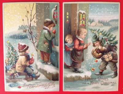 Vintage Hold-To-Light Christmas Postcards (2) Children At Doorsteps With Trees