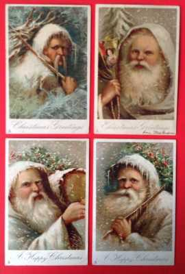 Vintage Tuck Santa Postcards(4)Series 8005-Lovely Santa Portraits-One Beardless?
