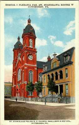 1920'S. PITTSBURGH, PA. ST. STANISLAUS POLISH R.C. CHURCH POSTCARD.
