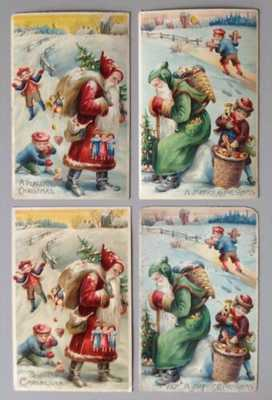 Lovely Hold-To-Light Santa Postcards (2) With Matching Cards-Santa With Children