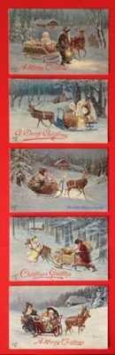 Vintage Tuck Santa Claus Postcards(6)Signed L. Schropler-Santa, Sleigh, Reindeer