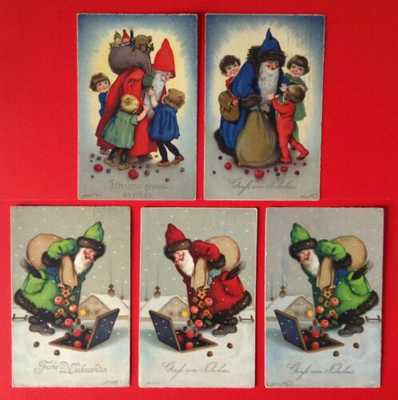 Meissner&Buch Santa Postcards(5)F. Baumgarten-Red, Blue,Green Robes-Sweet Images