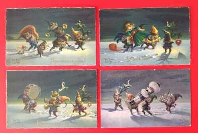 Vintage Signed Thiele Christmas Postcards (4) Santa's Helpers! Great Fantasy