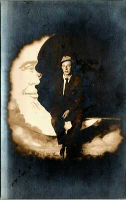 RPPC ~ CIRCUS CARNIVAL ~ PAPER MOON PROP ~ MAN IN THE MOON DARK BACKGROUND G67~