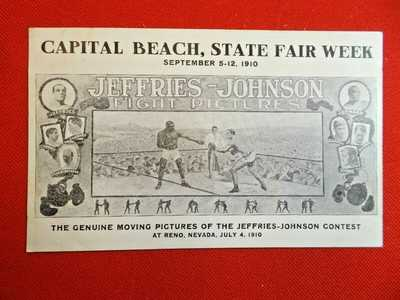 1910 Capital Beach, Nebraska State Fair postcard - Jeffries-Johnson fight pix EX
