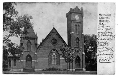 1907 HICKORY NC Methodist Church Postcard