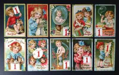 "Tuck ""Jolly Years"" New Year Postcards (10)-Beautiful Children, Lovely Colors"