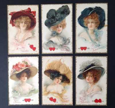 Vintage Nister Valentine's Day Postcards-Set of 6-Beautiful Women, Lovely Hats