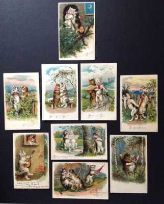 Vintage Fantasy Cat Postcards (9) Series 750- Cats-A-Courting- Beautiful Cards!