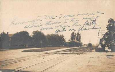 Farmington Delaware Depot Train Station Real Photo Vintage Postcard AA3461