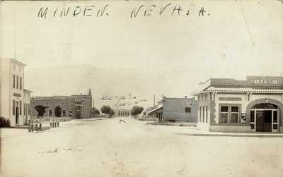MINDEN, NEVADA - RARE EARLY DOWNTOWN REAL PHOTO POSTCARD -POSTMARKED MINDEN