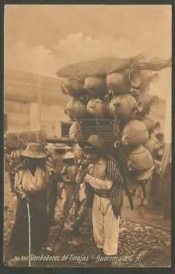 Guatemala Postcard Vendedores De Tinajas Jars Sellers Costumes