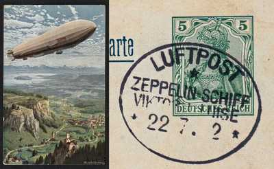"1912 COLOR PPC OF ZEPPELIN ""VICTORIA LUISE"", FLOWN FRANKFURT-KREUZNACH, AUG 22"