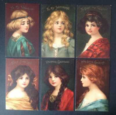 "Tuck Valentine Post Cards(6)""Little Treasure Series"" 124 Lovely Women! Brundage?"