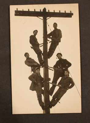 "EARLY 1900""S RPPC REAL PHOTO POSTCARD ELECTRIC LIGHT POLE WORKERS AZO UNDIVIDED"