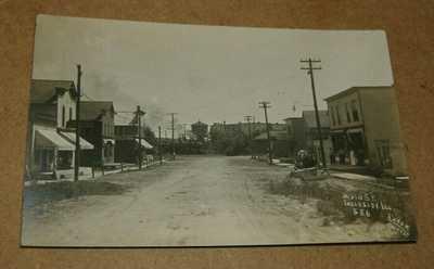 c1910 Stores Tavern Main Street Ingleside Illinois RPPC IL Town View