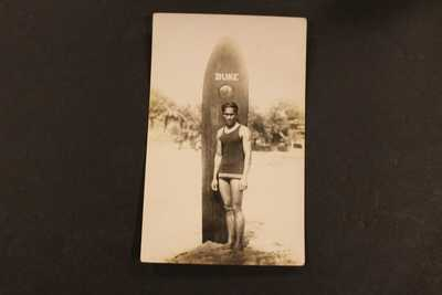 1910-1930 RPPC REAL PHOTO POSTCARD DUKE SURFBOARDER SURF BOARD AZO STAMPED