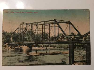 RARE 1900's Columbia, Mississippi Steel Bridge Pearl River -Scene Postcard!