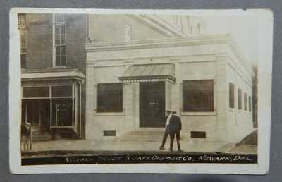 1913 RPPC Rea Photo Newark Delaware DE Post Card Postcard Trust Safe Deposit Co.