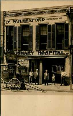 RPPC ~ W H REXFORD VETERINARY HOSPITAL ~ ANIMAL WAGON ADVERTISING ~ NICE !!  S54